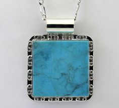 Sterling Silver Faux Blue Turquoise Filigree Frame Pendant Necklace #Pendant