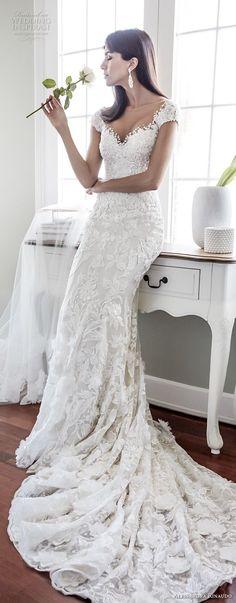alessandra rinaudo 2018 bridal cap sleeves sweetheart neckline full embellishment elegant sheath wedding dress open back chapel train (08) lv -- Alessandra Rinaudo 2018 Wedding Dresses