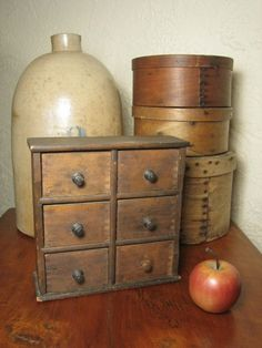 Primitive Spice Box Apothecary Cabinet Tea Chest of Drawers Rack ...