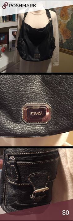 Beautiful Strada black shoulder purse BEAUTIFUL Strada black shoulder purse. Loop design strap - large middle zipper compartment - side pockets perfect for phone, sunglasses, keys, etc...  silver hardware. Preloved great condition. strada Bags Shoulder Bags