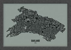 "OAKLAND and its 146 Neighborhoods — 24x16"" Map Poster — Screen Print by designerDad on Etsy https://www.etsy.com/listing/129061659/oakland-and-its-146-neighborhoods-24x16"