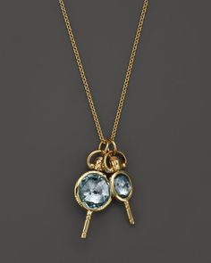 """Monica Rich Kosann 18K Yellow Gold Mini Round and Oval Pockewatch Key Charm Necklace with Blue Topaz and Moonstone, 26"""""""