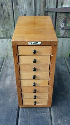 Stunning Small Chest Of Vintage Industrial Emir Wooden Microscope Side Drawers