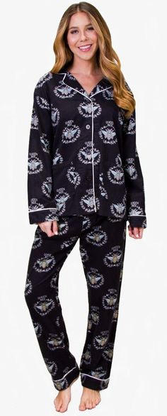 8a18f6325d PJ Salvage Queen Bee Flannel Set Style REQBPJ - Black Flannel Pajamas