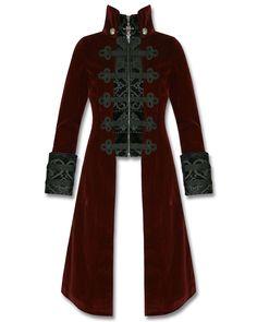 Punk Rave Womens Jacket Coat Baratheon Burgundy Red Velvet Gothic Steampunk | eBay
