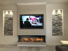 Fireplace Feature Wall, Feature Wall Living Room, Living Room Decor Fireplace, Fireplace Tv Wall, Living Room Wall Units, Living Room Tv Unit Designs, Open Plan Kitchen Living Room, Fireplace Built Ins, Living Room Styles