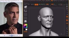 Hossein Diba sculpts George Clooney likeness in ZBrush