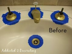 Change an outdated faucet fixtures to look new and pretty (go to the website to see the after, it looks awesome)