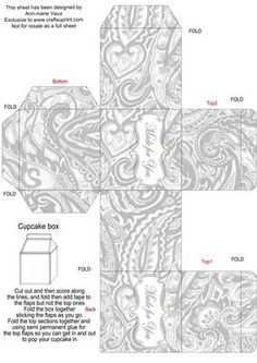 Silver Paisley Single Cupcake Presentation Box on Craftsuprint - Add To Basket!