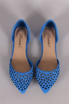 Breckelle Suede Perforated Pointy Toe Dorsay Flat