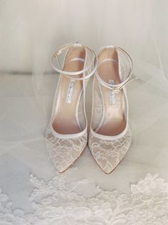 delicate chantilly lace covered wedding shoes