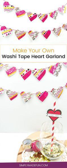 Washi Tape Heart Garland   Valentine's Day Craft   Holiday Crafts   Holiday Decor   Washi Tape Crafts   Washi Tape   Paper Crafts