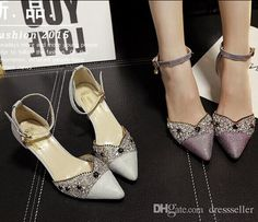 Stock 2016 New Purple Silver Crystals Wedding Shoes Kitten Heel Poited Toe Rhinestones Bridal Shoes Sexy Party Evening Shoes Wholesale