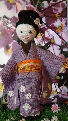 Geisha Sakura san amigurumi handmade crochet by crochettime2day ☆