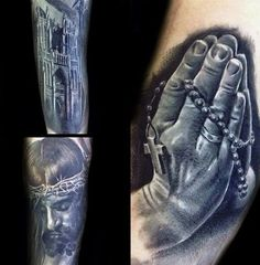 Top 103 Rosary Tattoo Ideas [2020 Inspiration Guide] World Famous Tattoo Ink, Famous Tattoos, Rosary Tattoo On Hand, Rosary Tattoos, Rosary Beads, Prayer Beads, Pray Tattoo, Sainte Rita, Old School Rose