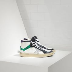 Buy Golden Goose Deluxe Womens 2.12 Hi Top Shoes 2016 In White Green Black  With Leather Star c2334a3d8b94