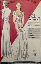1920's Vintage Evening Gown Very Deep Back Slip du Barry Sewing Pattern #994B