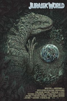 The story is based on a dinosaur which is created at Jurassic World, which is a theme park, located on an island, called Isla Nublar, which was the site of the original Jurassic Park. The Jurassic World contain so many species of Dinosaurs' clones. Jurassic World Poster, Jurassic World Park, Jurassic Park Series, Jurassic World Wallpaper, Michael Crichton, Jurrassic Park, Park Art, Science Fiction, Indominus Rex