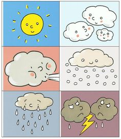 fun weather craft ideas for kids Preschool Classroom, Kindergarten Activities, Classroom Activities, Preschool Activities, Weather For Kids, Teaching Weather, Weather Crafts, Cute Cartoon Drawings, Puzzles For Kids