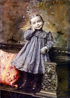 Little Girl in BLue Dress Tinted Vintage Photography