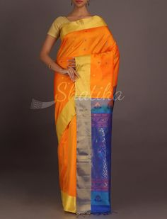 anya Feiry Orange Cool Blue Striking #WeddingSilkSaree