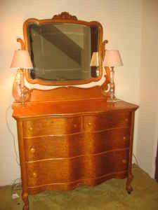 Antique Birds Eye Maple Princess Serpentine Dresser Vanity w/ Oval ...