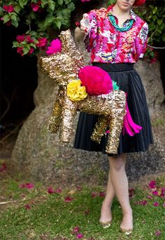 DIY Gilded Piñata Makeover: 22 Sparkly 30th Birthday Party Ideas for the Glitter-Obsessed Gal via Brit + Co