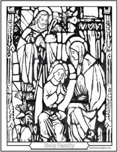 Stained Glass Holy Family Printable Christmas Coloring Pages