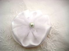 Items similar to White Hair Bow - Elegant Satin Fabric Hair Bow with Pearl Center - Wedding Accessory on Etsy Fabric Hair Bows, Satin Fabric, White Hair Bows, Elegant, Trending Outfits, Unique Jewelry, Handmade Gifts, Wedding, Vintage
