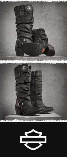Jana Performance Boots at the Official Harley-Davidson Online Store. Complete your look from head to toe with H-D® Performance footwear by Wolverine. The Jana Boots look great on or off the bike and include features such as: Harley Boots, Harley Gear, Harley Davidson Boots, Davidson Bike, Lady Biker, Biker Girl, Rock Elegante, Biker Chick Outfit, Harley Davidson Merchandise
