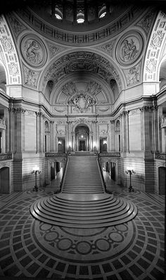 """San Francisco City Hall Interior, 8 x 10"""" view with fish-eye style lens configuration by bennetthall, 1980 via"""