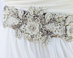 Beaded Bridal Sash-Wedding Sash In Pewter And Ivory With Crystals, Wedding Dress Sash, Bridal Belt, COLOR CHOICES