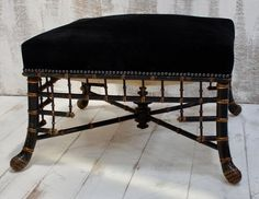 A Large Regency faux-bamboo stool with an upholstered seat from the Early 19th century. This stunning large faux bamboo stool from the regency period has a seat that is raised on an ebonized faux-bamboo base with gilt detailing reminiscent of the Chinese Chippendale style, made of four splayed legs connected to one another with a cross stretcher, reupholstered to a high standard in black suede on a beautiful ebonized base, this is a stunning piece circa 1810, will be a stylish accent piece… Antiques Online, Selling Antiques, Faux Bamboo, Accent Pieces, Interior Work, Restoration Services, Stool, Saved Items, Regency