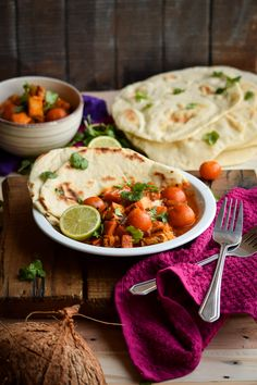 Indian Red Coconut Chicken Curry with Homemade Pita