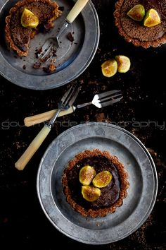 Chocolate fig tarts- gorgeous photograph by Sylvie of Gourmande in the Kitchen