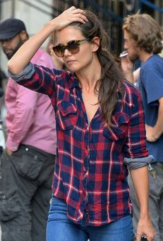 Katie Holmes. I love the plaid! :)