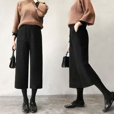 Damen Wolle weites Bein lässig Culottes Ernte Hosen Baggy lose Hosen hohe Taille … – Womens Harem Pants Plus Size Pants Loose Pants Black Pants Loose Pants Outfit, Women's Pants, Culotte Pants, Casual Pants, Gaucho Pants Outfit, Cropped Trousers Outfit, Plaid Pants, Adidas Pants, Cargo Pants