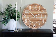 Wall Clock Numbers, Handmade Clocks, Distressed Walls, Hickory Wood, White Clocks, Wood Clocks, Large Clock, Types Of Wood, Wood Wall