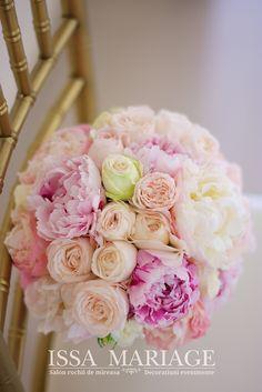 buchet mireasa bujori roz pal