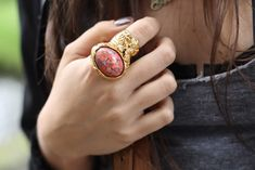 chunky gold rings with vibrant gems-a perfect statement piece