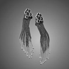 Silver Statement Earrings Tassel Earrings Fringe Earrings | Etsy