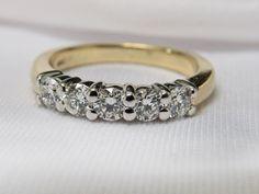 .33ctw TWO TONE yellow & white gold 5 stone diamond ring