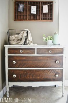 two-tone dresser // How to strip painted furniture from Liz Marie Blog