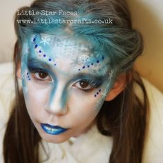 Little star faces face paint designs, photo, party, events Frozen Snow Ice Queen Blue Silver Snowflakes Frost