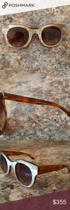Thierry Lasry sunglasses Limited edition model, Celebrity 310 (Mosaic Tile Over Honey) High quality acetate Large brown lenses, minor scratches  Size 50-28-140 (50 eye size, 28 bridge width, side length 140mm) frame width 148, frame depth 55 Has a small amount of prescription on the lenses Handmade in France Sprung hinged 100% full UV400 protection Thierry Lasry glasses are worn by Rihanna, Miley Cyrus, Jennifer Lawrence, Kate Moss, Madonna, Jennifer Lopez, Eva Mendez, etc. Thierry Lasry…