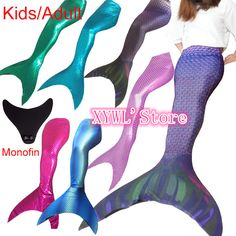 e15930250aca7 Online Shop Ariel New Kid Girl Adult Women Sparkle Swimmable Mermaid Tail  only Without Monofin only Swimwear Costume Cosplay Swimsuit
