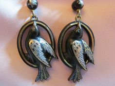 Pique Victorian Earrings With Carved Tortoise Shell Birds (Silver and Gold Feathers)