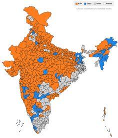 India Near Final Election Map, Modi
