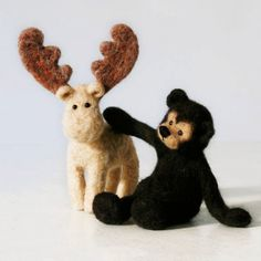 Forest Friends - moose and bear art-dolls, two little handmade forest buddies from natural wool.