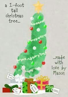 One foot tall Christmas tree so cute use finger printS for bulbs